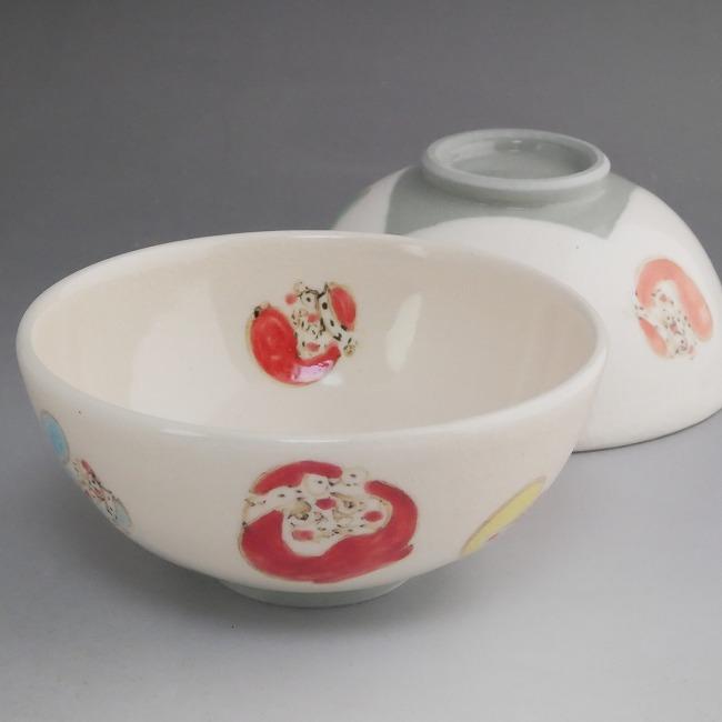 【京焼 清水焼】色絵だるまご飯茶碗