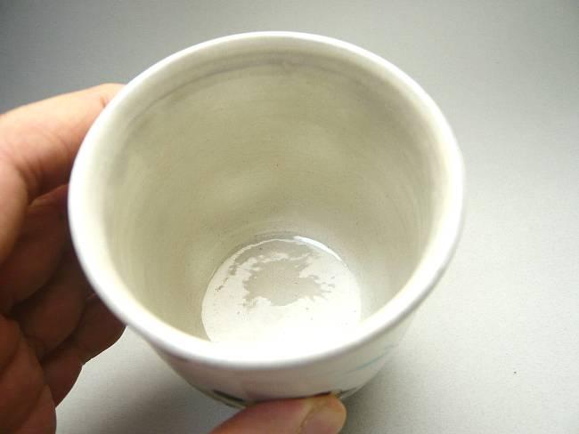 清水焼粉引湯呑 干支寅張り子