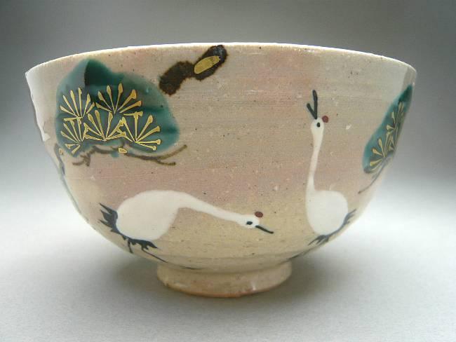 清水焼松竹梅鶴夫婦茶碗