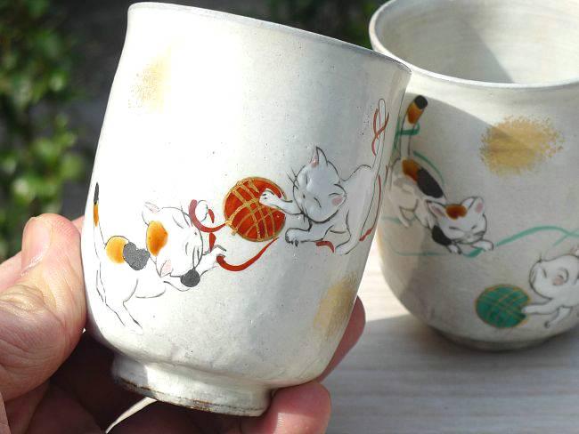 粉引ねこ夫婦茶碗と夫婦湯呑
