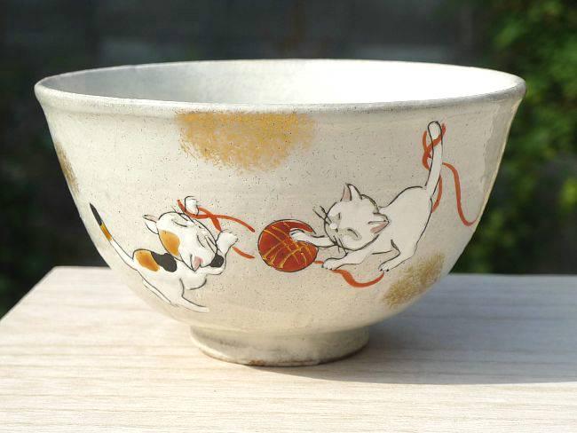 京都陶瓷陶器, 佳月窑工作, 可爱猫咪图案水稻碗小大小.