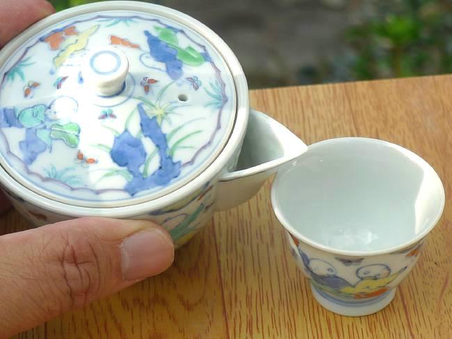 色絵淡彩唐子豆煎茶器揃 昭阿弥