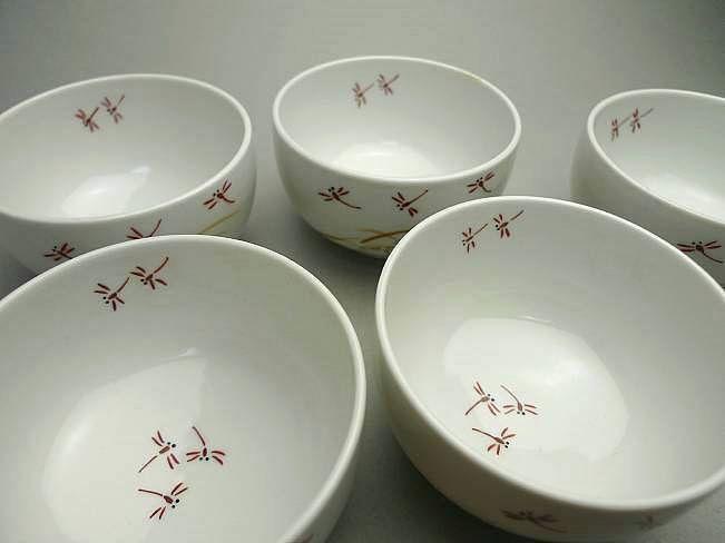 清水焼色絵赤トンボ汲出碗