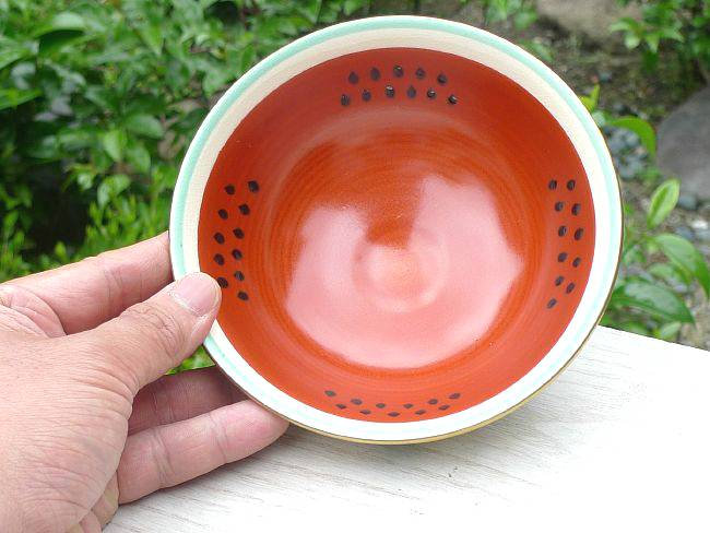 清水焼京焼の平茶碗 スイカ