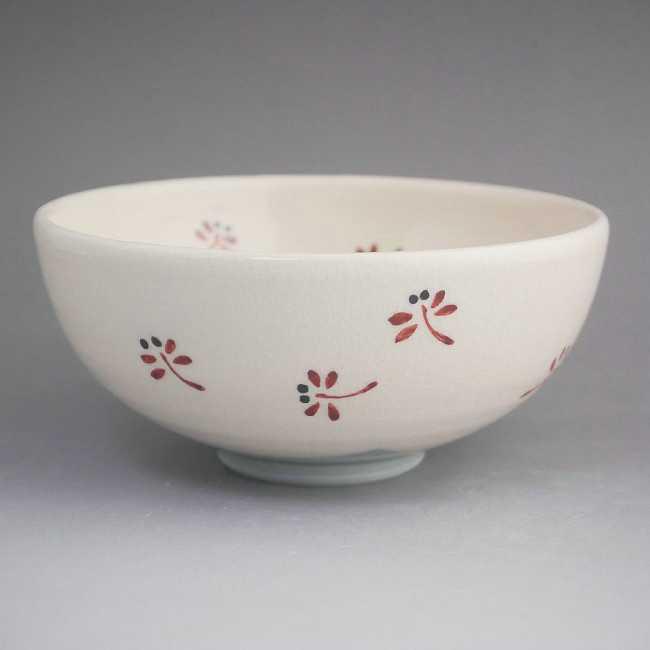 粉引赤とんぼご飯茶碗