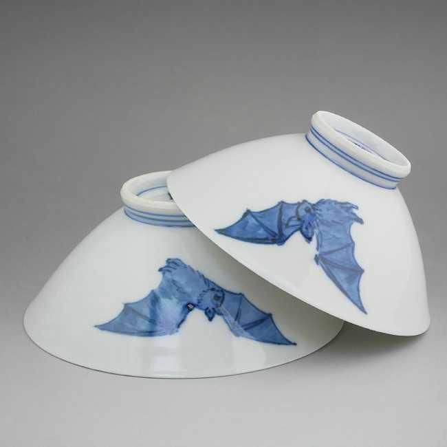 【京焼清水焼】染付蝙蝠(こうもり・コウモリ)ご飯茶碗