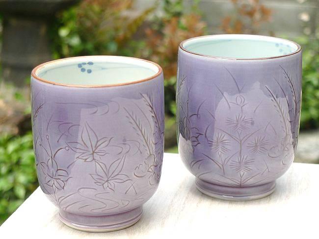 清水焼黄交趾蝶々マグカップ