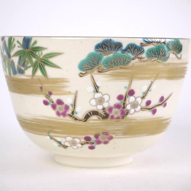 【京焼 清水焼】抹茶碗椿の花