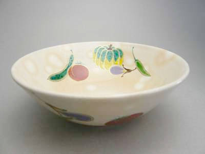 清水焼京焼炭山の茶道具窯元小倉亨作の夏茶碗 夏野菜