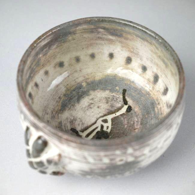 清水焼昌久粉引鶴亀の器