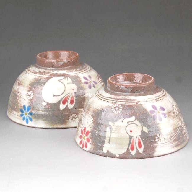 粉引うさぎ夫婦茶碗と夫婦湯呑