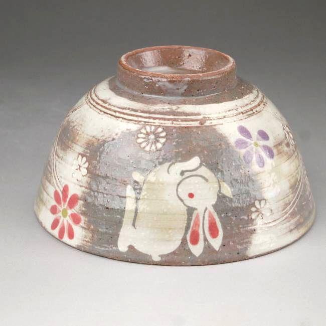 京焼清水焼粉引うさぎ夫婦茶碗と夫婦湯呑