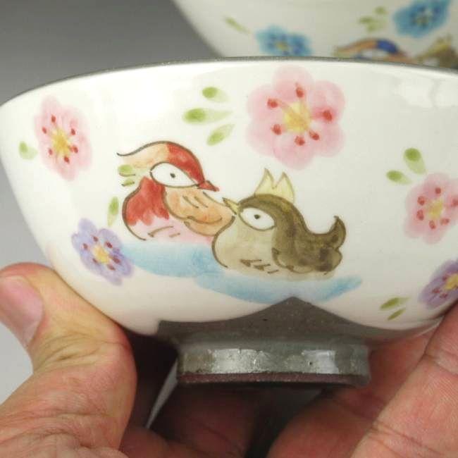 粉引おしどり夫婦茶碗と夫婦湯呑