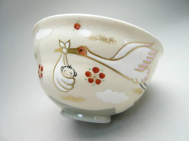 清水焼京焼の幸せを運ぶコウノトリのご飯茶碗