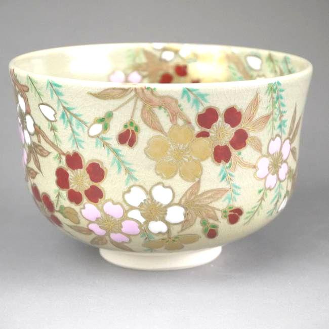 【京焼 清水焼】抹茶碗 椿の花