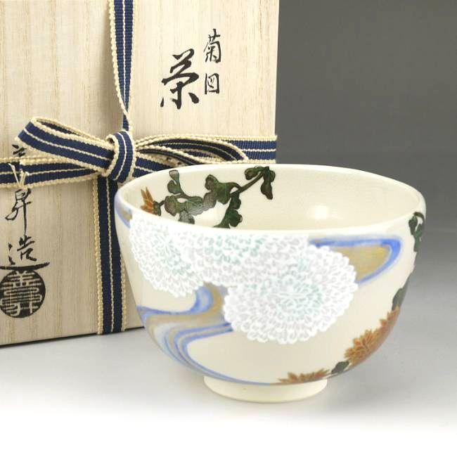 清水焼、色絵琳派抹茶茶碗 善昇 抱一写