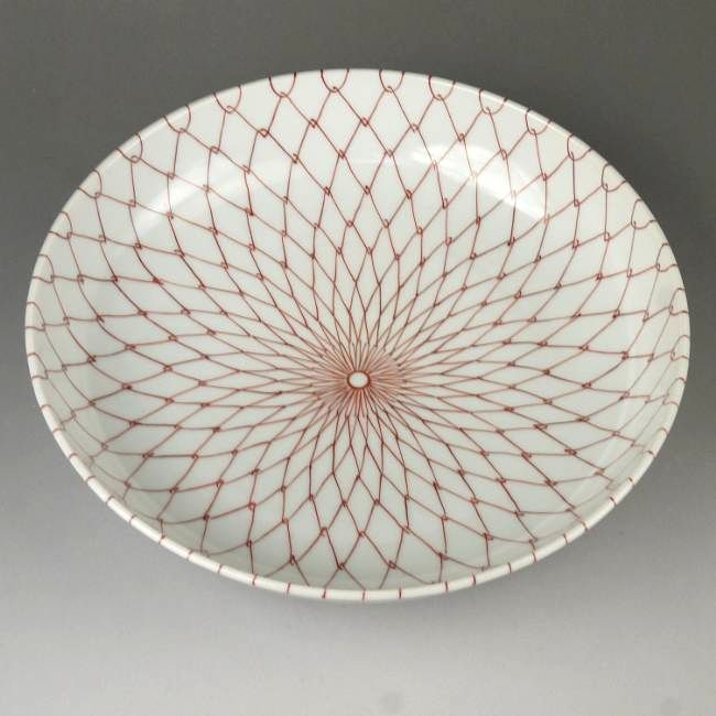 清水焼窯元加藤芳山作赤アミ菓子鉢