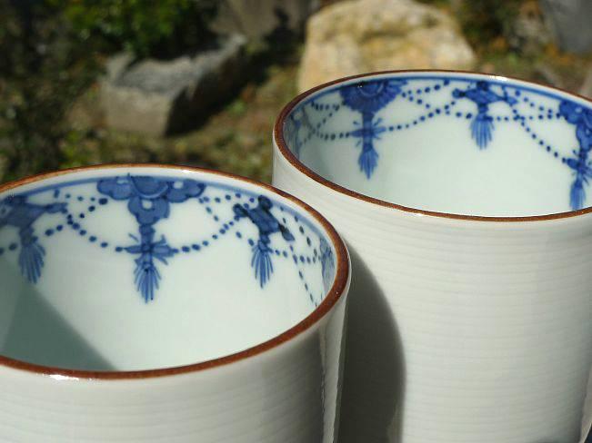 【京焼 清水焼】白磁瓔珞 夫婦湯飲み 【送料無料】