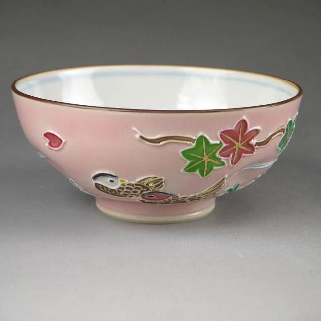 【京焼清水焼】おしどりご飯茶碗昇峰