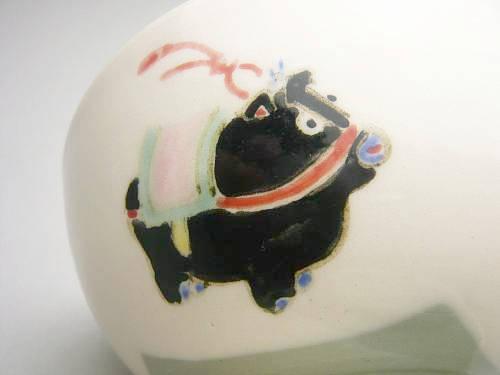 【京焼 清水焼】干支黒牛 ごはん茶碗