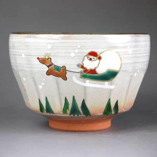 【京焼 清水焼】抹茶碗 サンタクロース