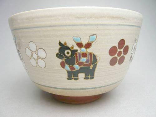 【京焼 清水焼】抹茶碗 天神福牛