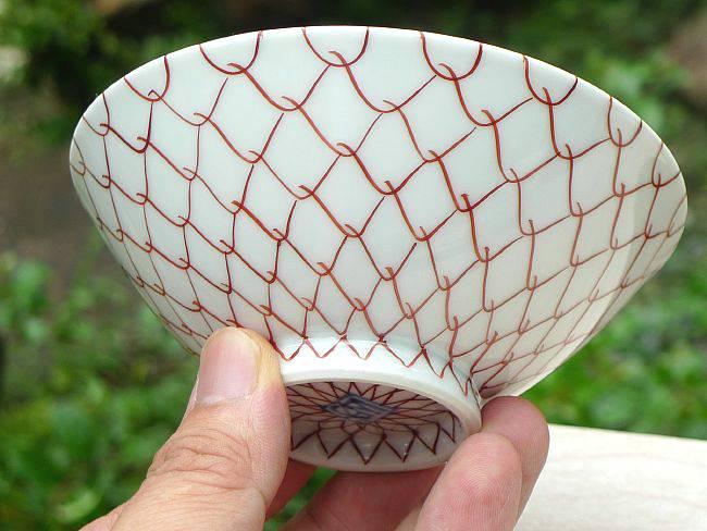 【京焼清水焼】染付網目ご飯茶碗