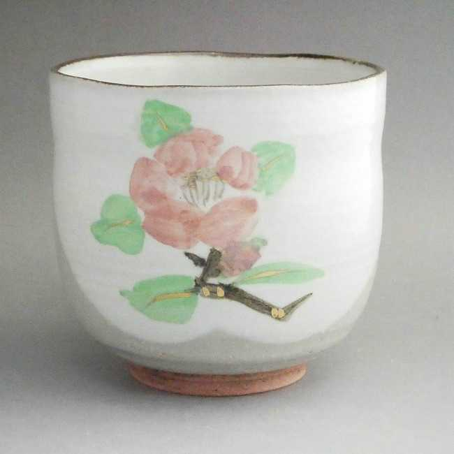 【京焼 清水焼】椿 筒茶碗・冬茶碗
