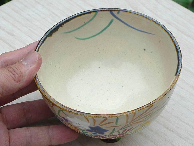 【京焼 清水焼】抹茶碗 花篭
