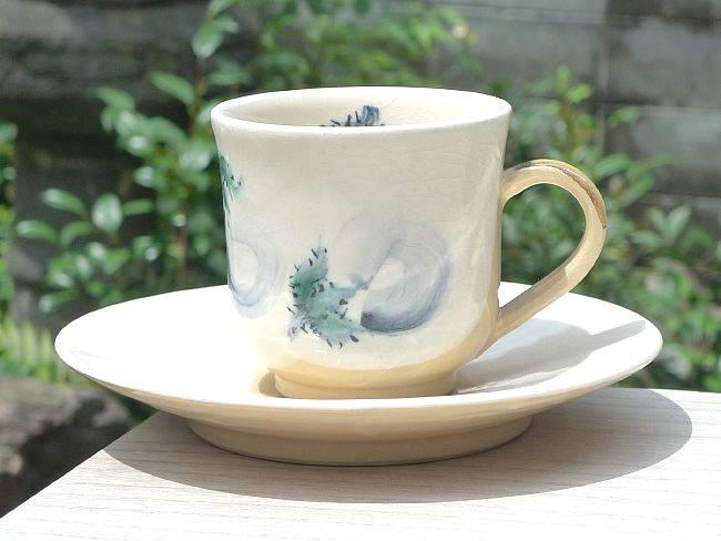清水焼の縁起の良い茄子の描かれたコーヒーセット