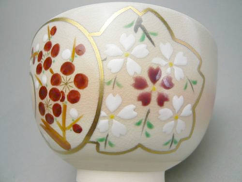 清水焼、雪月花の抹茶碗