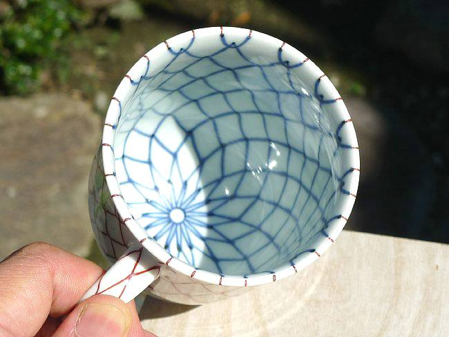 芳山作赤青網目マグカップ