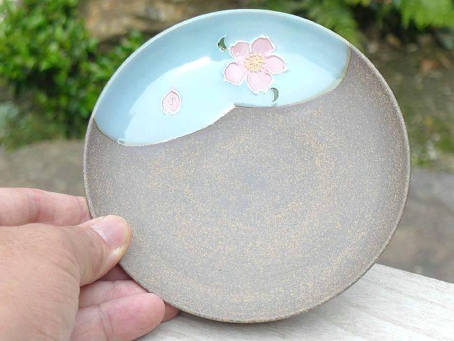 【京焼 清水焼】焼締雲錦皿