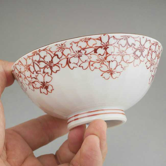 【京焼清水焼】染付桜摘めご飯茶碗