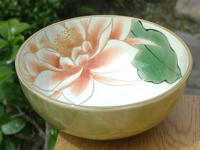 京焼清水焼 月下美人ご飯茶碗