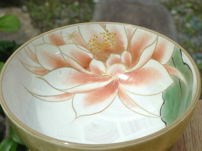 京焼清水焼月下美人ご飯茶碗