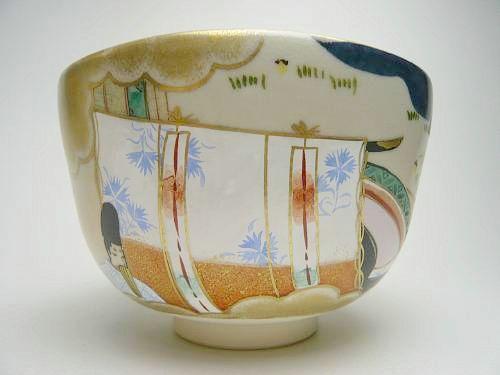 清水焼京焼の抹茶碗 色絵藤