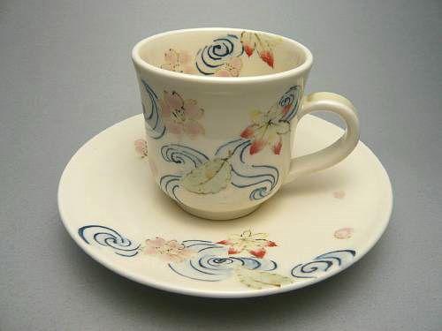 色絵桜コーヒー茶碗