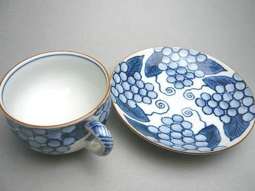 染付葡萄絵コーヒー茶碗
