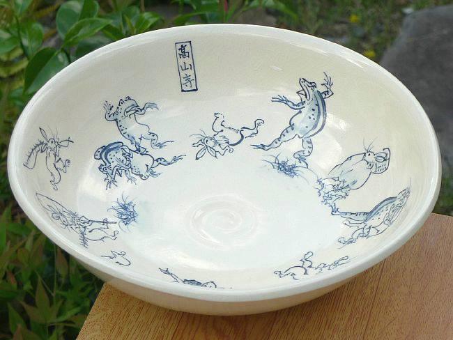 陶仙作鳥獣戯画赤絵菓子鉢