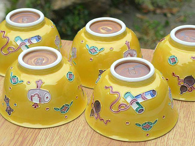 清水焼黄交趾蝶々夫婦湯飲み