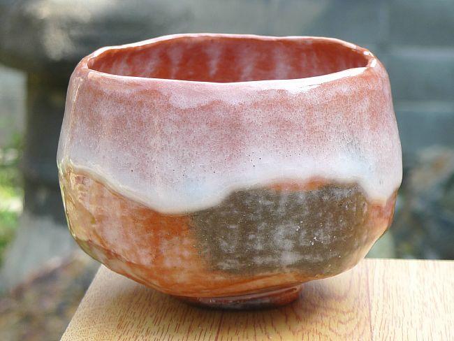 【京焼清水焼】赤茶碗 手捻り 特上 昭楽
