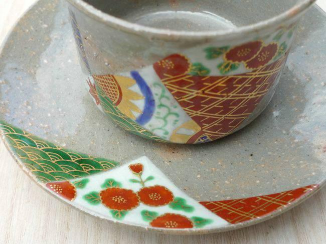 京焼清水焼着彩金襴コーヒー茶碗 善昇