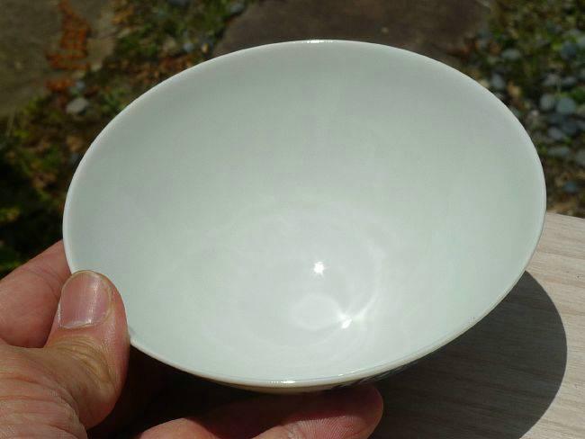 清水焼の窯元加藤芳山作染付左馬ご飯茶碗