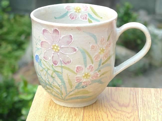 【京焼 清水焼】菖蒲の花マグカップ瑞光