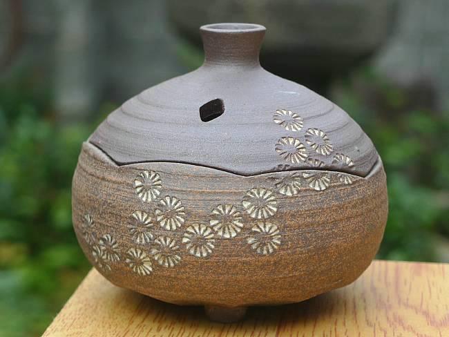 【京焼 清水焼】焼締香炉