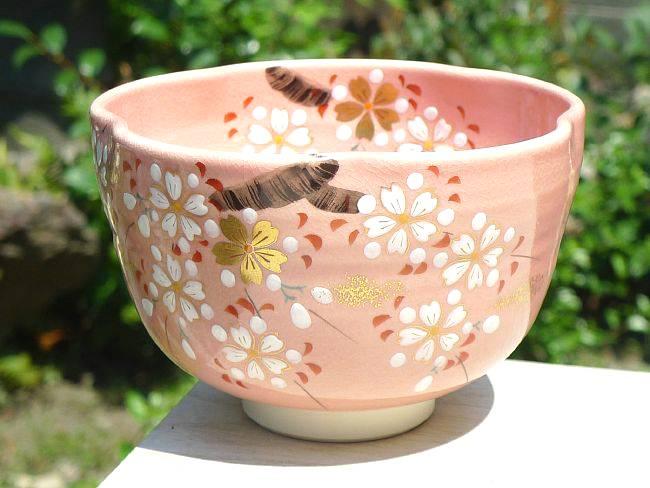 【京焼清水焼】色絵 桜抹茶碗 剛