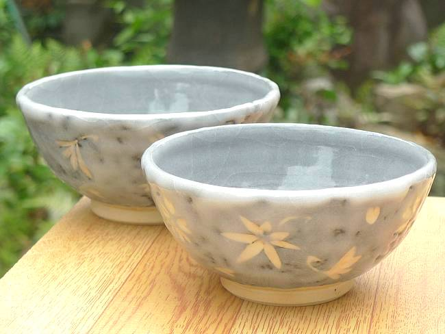 志野春秋夫婦茶碗