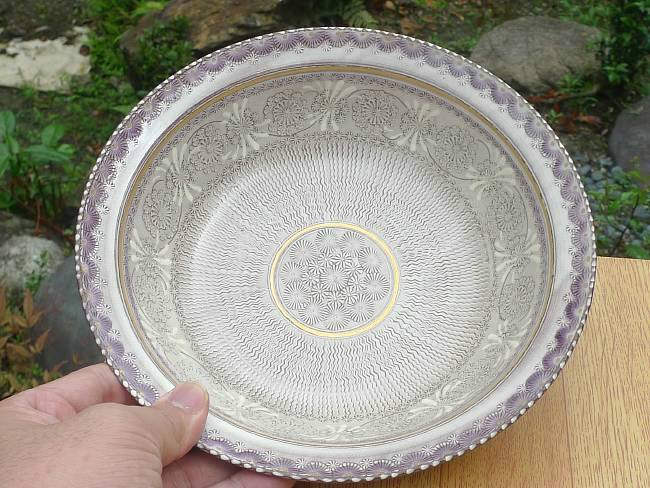 茶碗紫彩花紋