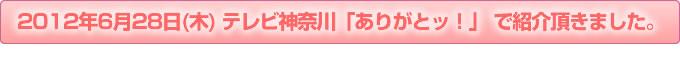 2012年6月28日(木)  テレビ神奈川「ありがとッ!」 で紹介頂きました。